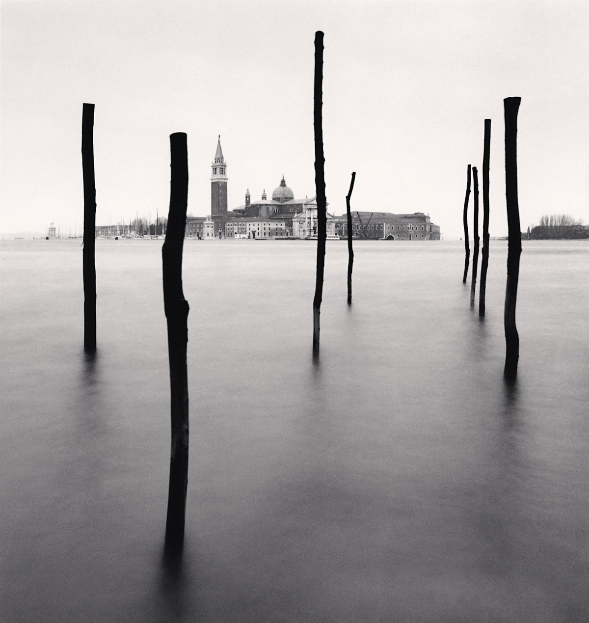 Michael Kenna Basilica and Eight Poles, Venice, Italy 1990 Sepia Toned Silver Gelatin Print From An Edition Of 45 8 x 8 Inches