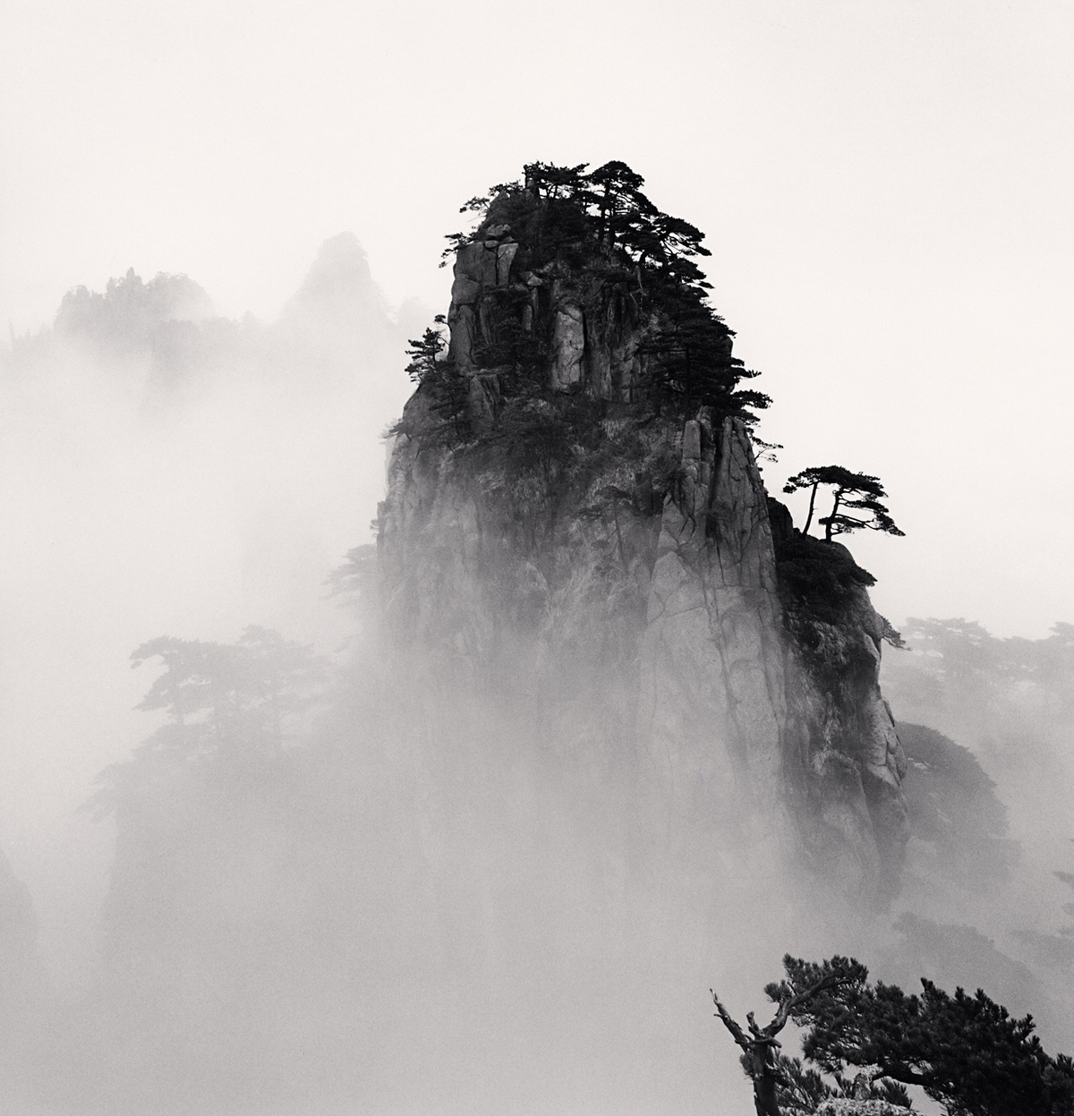 Michael Kenna Huangshan Mountains, Study 11, Anhui, China 2008 Sepia Toned Silver Gelatin Print From An Edition Of 45 8 x 8 Inches