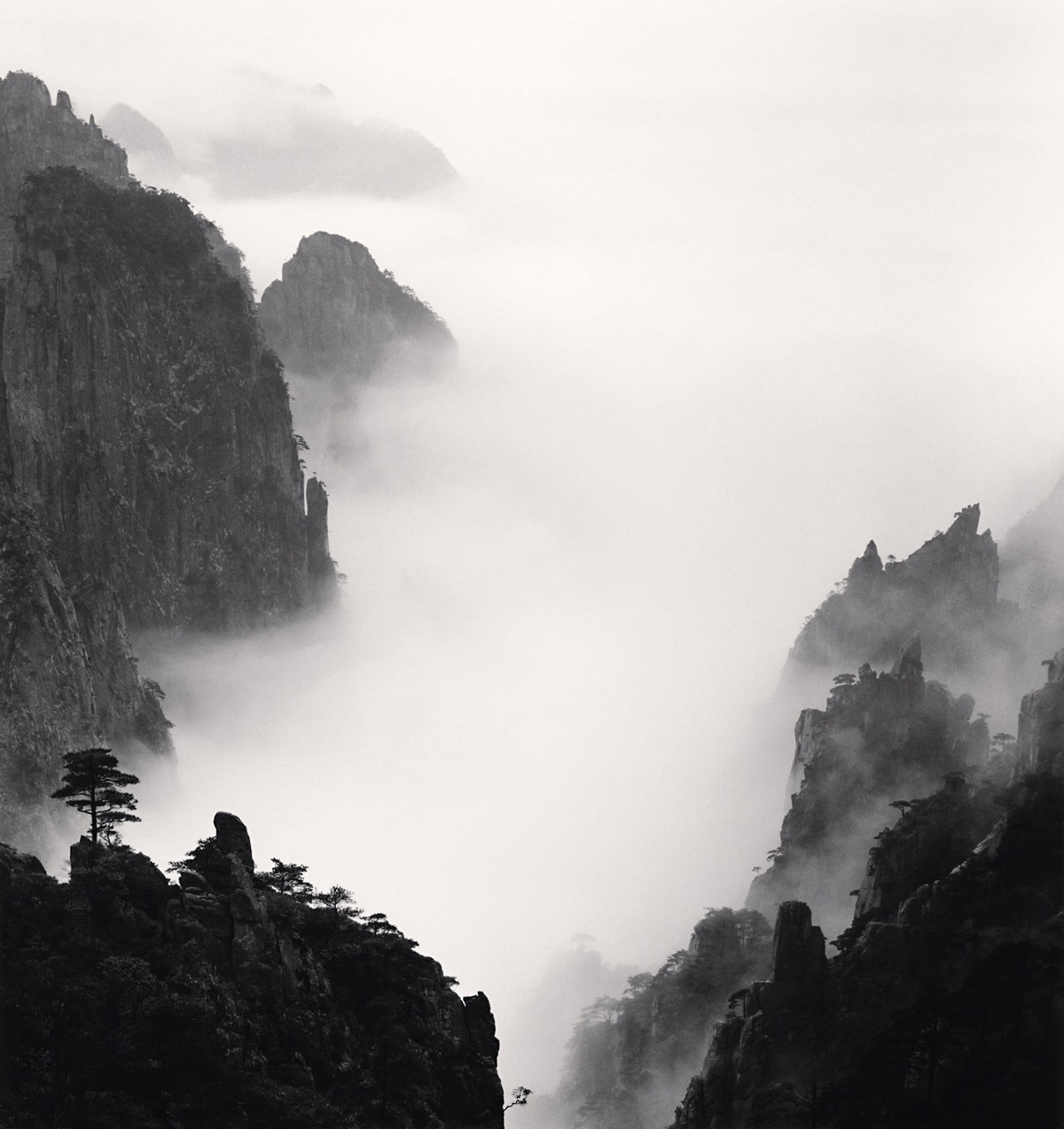 Michael Kenna Huangshan Mountains, Study 8, Anhui, China 2008 Sepia Toned Silver Gelatin Print From An Edition Of 45 8 x 8 Inches