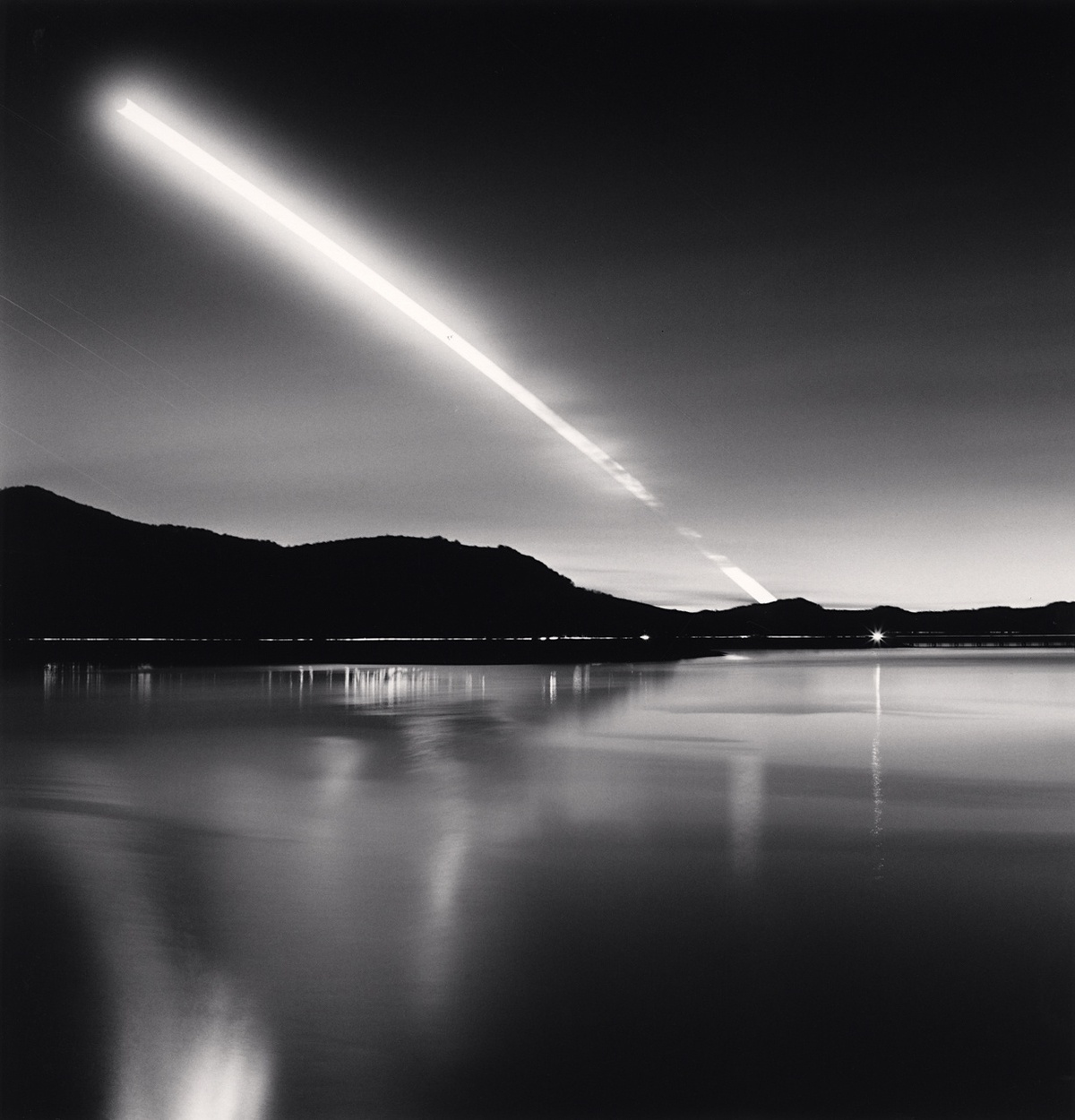 Michael Kenna Moon Set, Lake Campotosto, Abruzzo, Italy 2015 Sepia Toned Silver Gelatin Print From An Edition Of 25 8 x 8 Inches