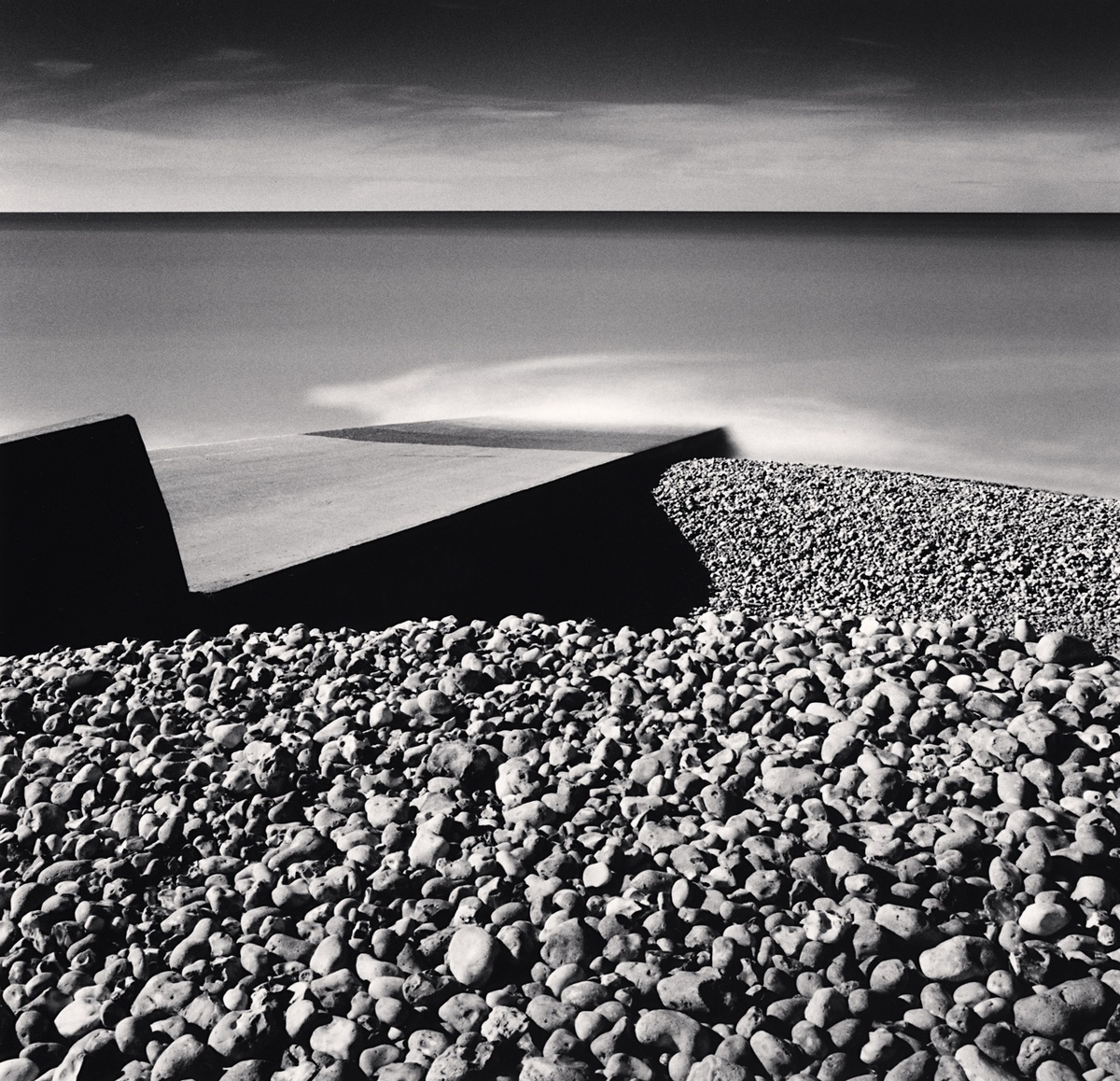 Michael Kenna Pebble Beach, Ault, Picardy, France 2009 Sepia Toned Silver Gelatin Print From An Edition Of 45 8 x 8 Inches