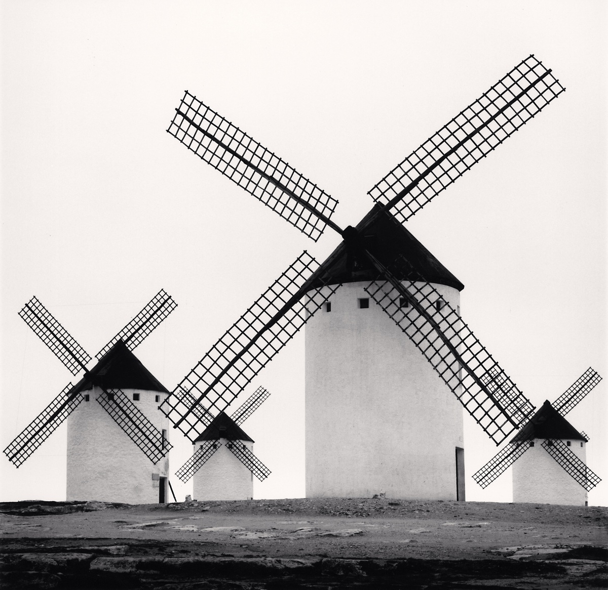 Michael Kenna Quixote's Giants, Study 5, Campo de Criptana, Spain 1996 Sepia Toned Silver Gelatin Print From An Edition Of 45 8 x 8 Inches