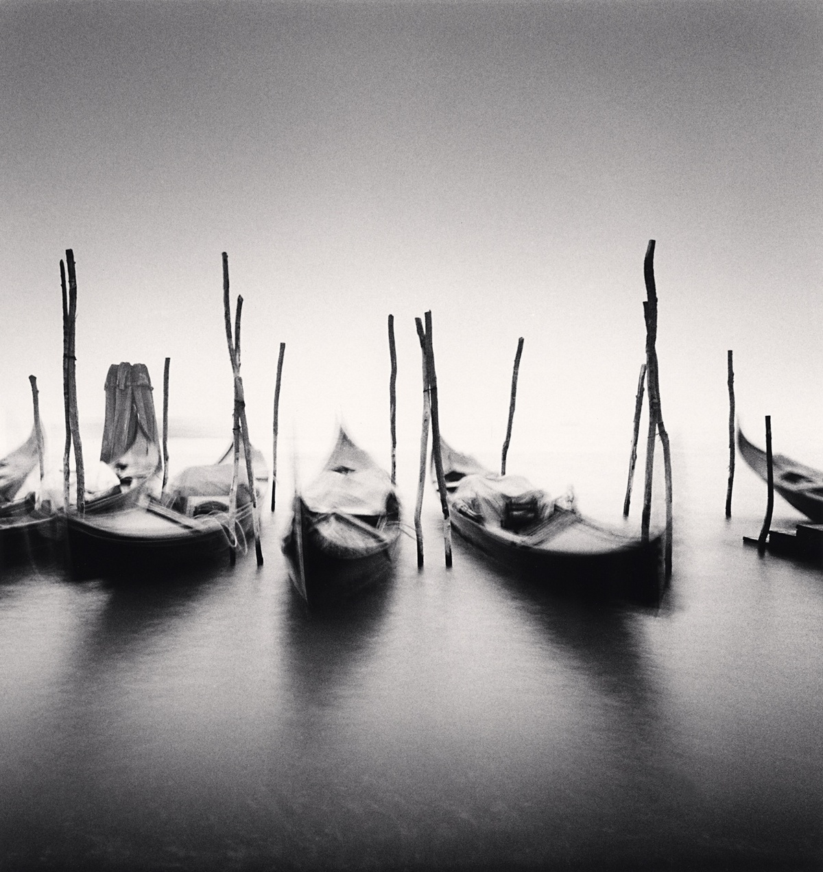 Michael Kenna Six Gondolas, Giardini ex Reali, Venice, Italy 1980 Sepia Toned Silver Gelatin Print From An Edition Of 45 8 x 8 Inches