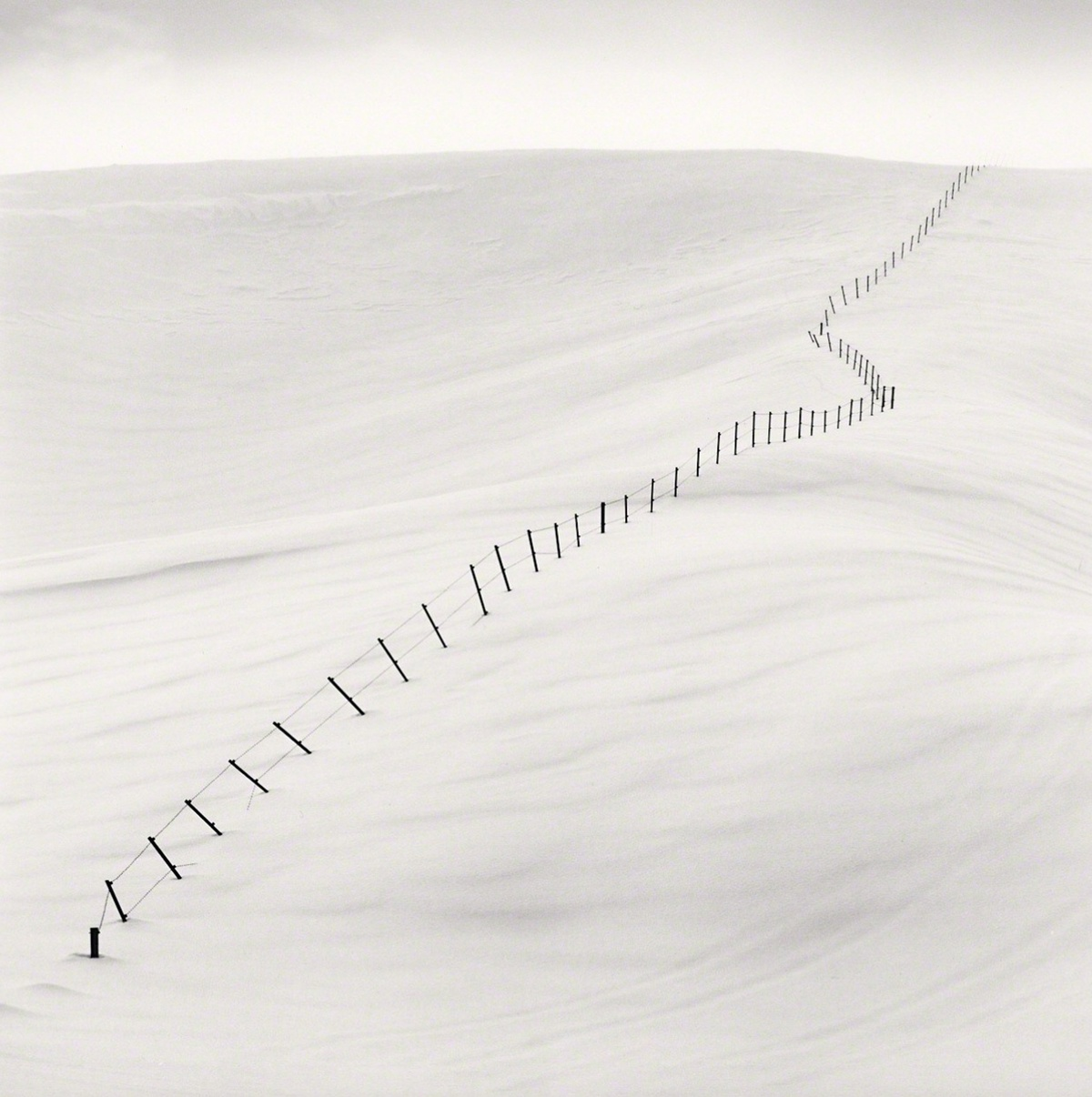 Michael Kenna Hillside Fence, Study 7, Teshikaga, Hokkaido, Japan 2004 Sepia Toned Silver Gelatin Print From An Edition Of 25 8 x 8 Inches